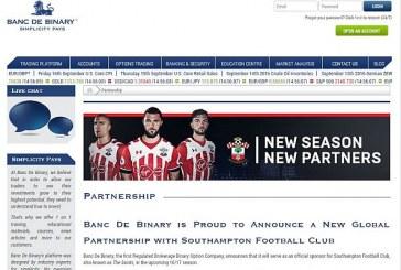 Southampton FC vycouval ze sponzorské smlouvy s Banc de Binary