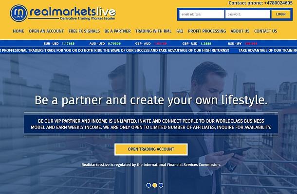 IFSC varuje před Real Markets Live
