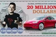 Justin Sun chce v pochybné kampani rozdat 20 milionů dolarů a vůz Tesla
